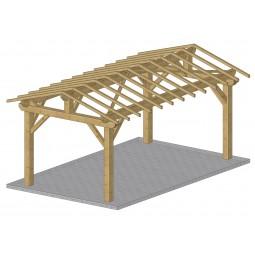 ossature bois carport double pente 30%