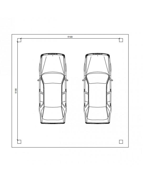 abri voiture 5 5 x 5 5 p 30 pour 2 voitures. Black Bedroom Furniture Sets. Home Design Ideas